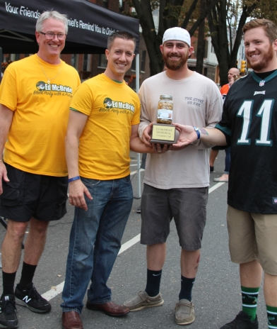 The Hon Ed McBride Jr., co-owner of Moonshine, Rich Fattori, Kevin McBride (son of Ed Jr.) and Sam Magro. Kevin and Sam were presented the Ed McBride Crouton Award for winning the Cornhole Tournament